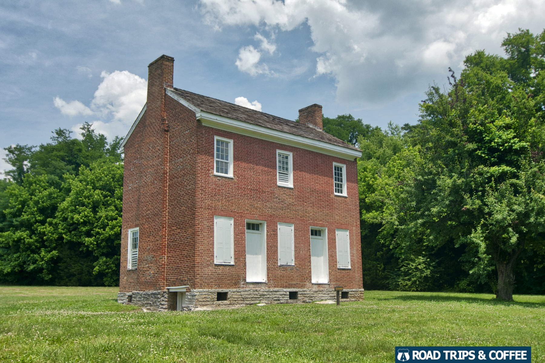 The two-story brick Gorden House Historic Site on the Natchez Trace Parkway in Tennessee