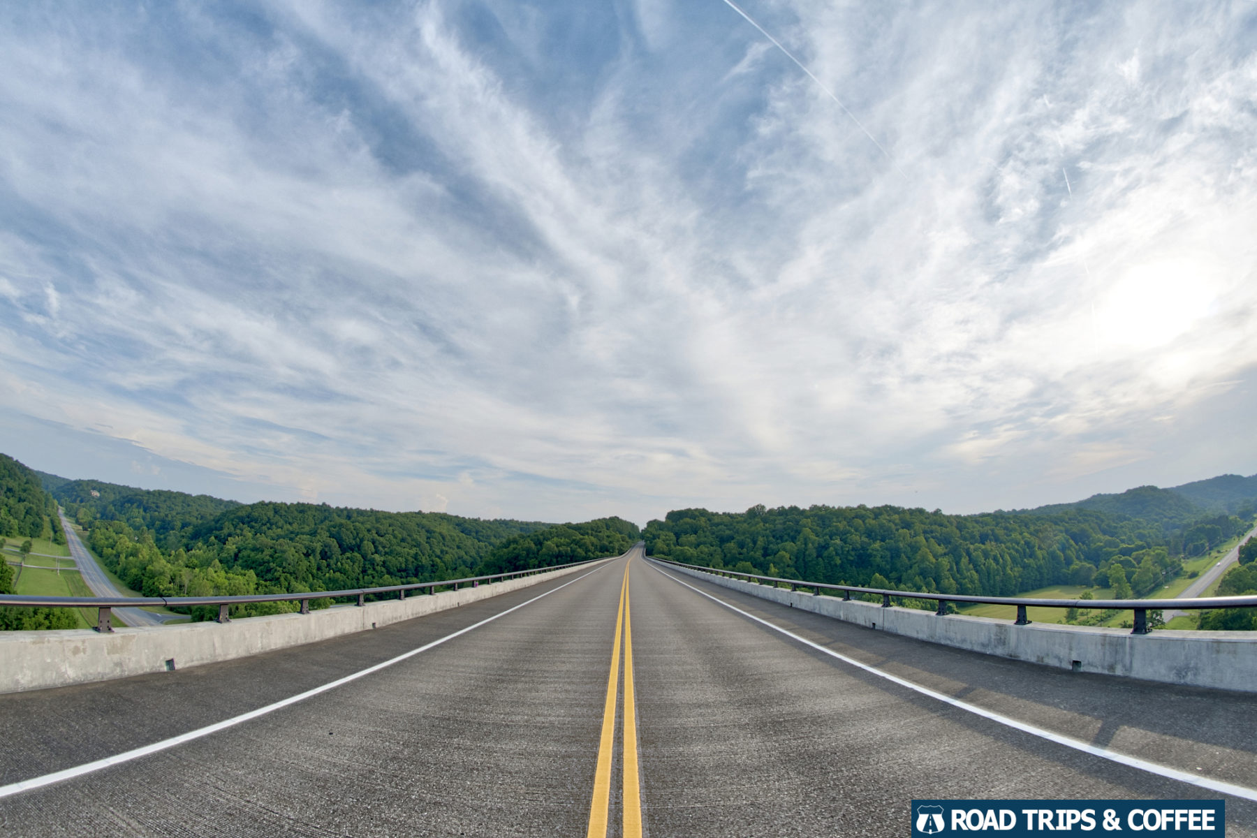 View from the middle of the Double Arch Bridge on the Natchez Trace Parkway in Nashville, Tennessee