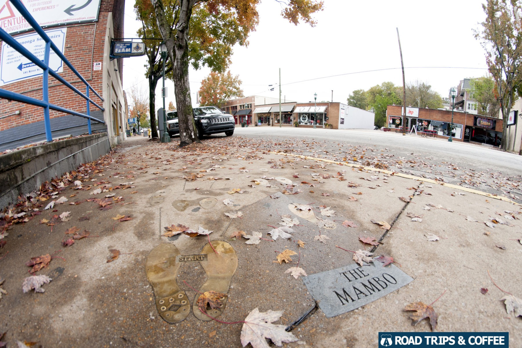 """Dance steps to """"The Mambo"""" embedded in the sidewalk of the NorthShore of Chattanooga, Tennessee"""