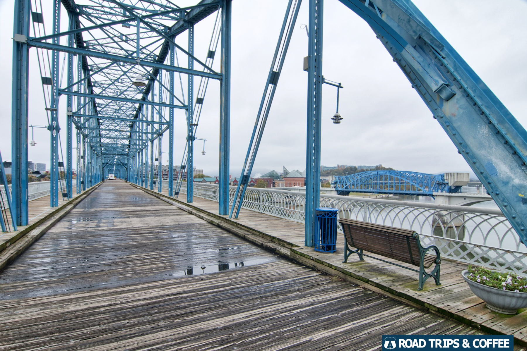 The blue steel frame of the Walnut Street Bridge in Chattanooga, Tennessee