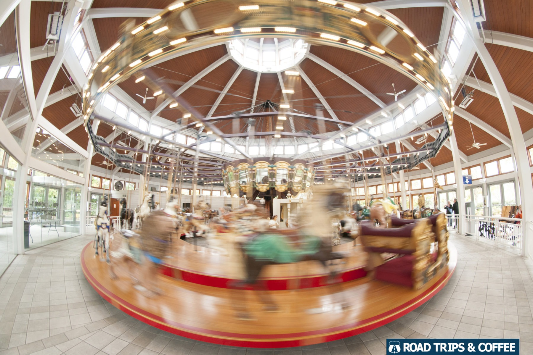 The historic Coolidge Park Antique Carousel spins round and round in Chattanooga, Tennessee