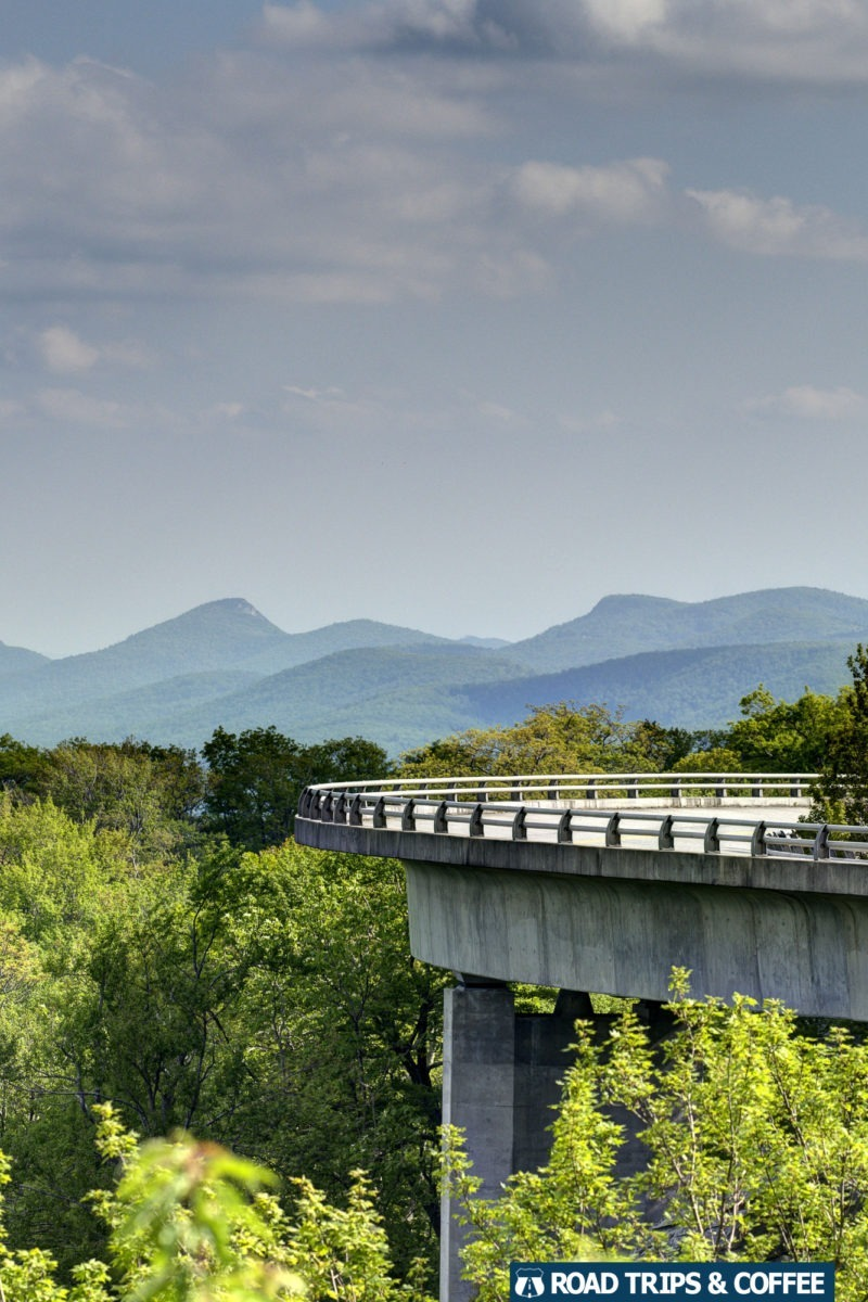 The curve of the Linn Cove Viaduct hangs out over the landscape on the Blue Ridge Parkway in North Carolina