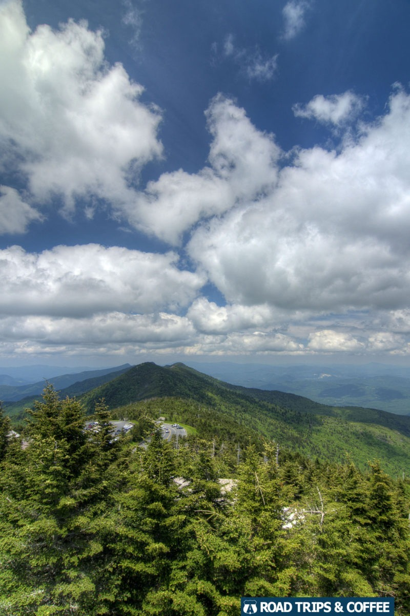 Clouds linger over the mountains at Mt. Mitchell on the Blue Ridge Parkway in North Carolina