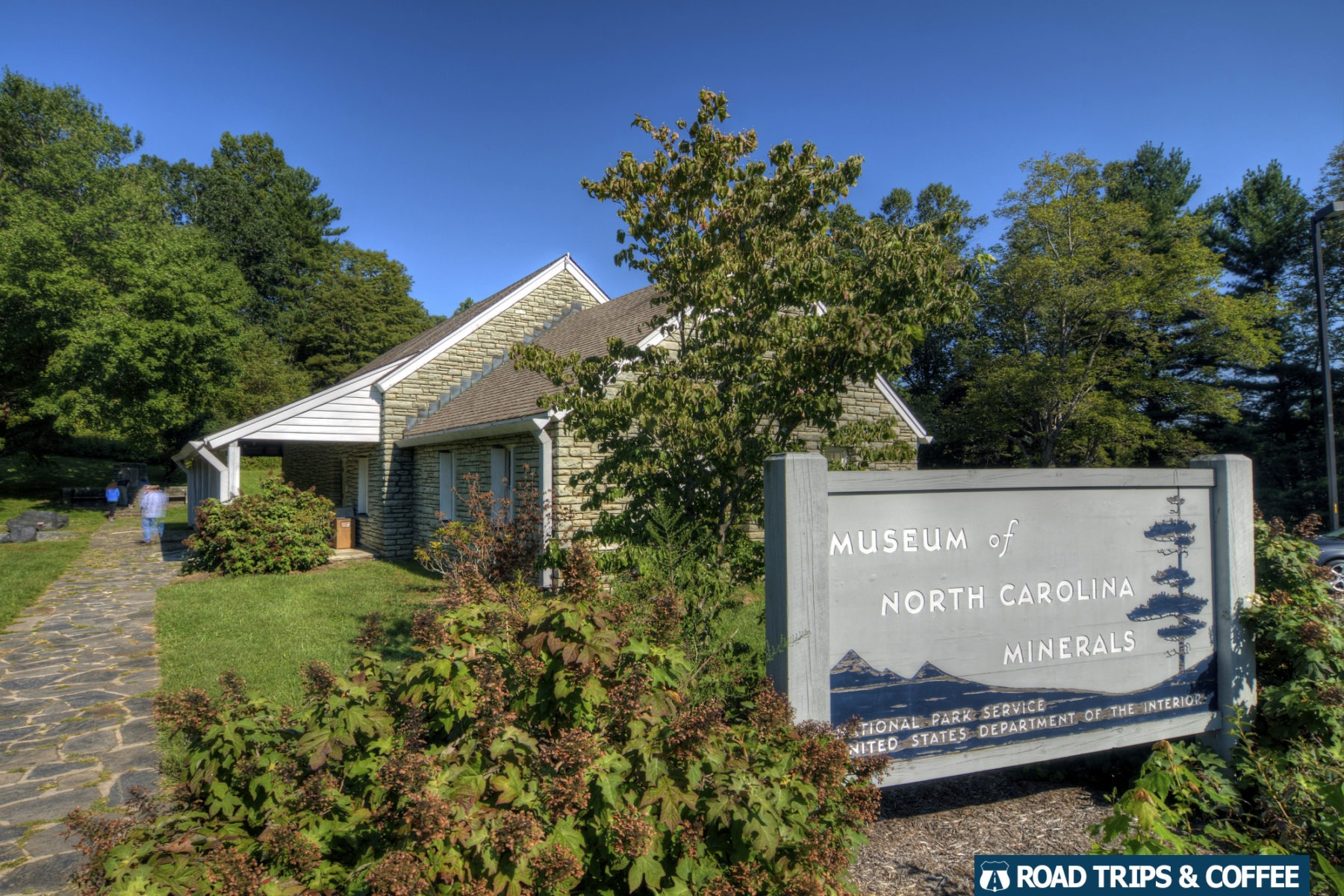 A sign marks the entrance to the Museum of North Carolina Minerals on the Blue Ridge Parkway in North Carolina