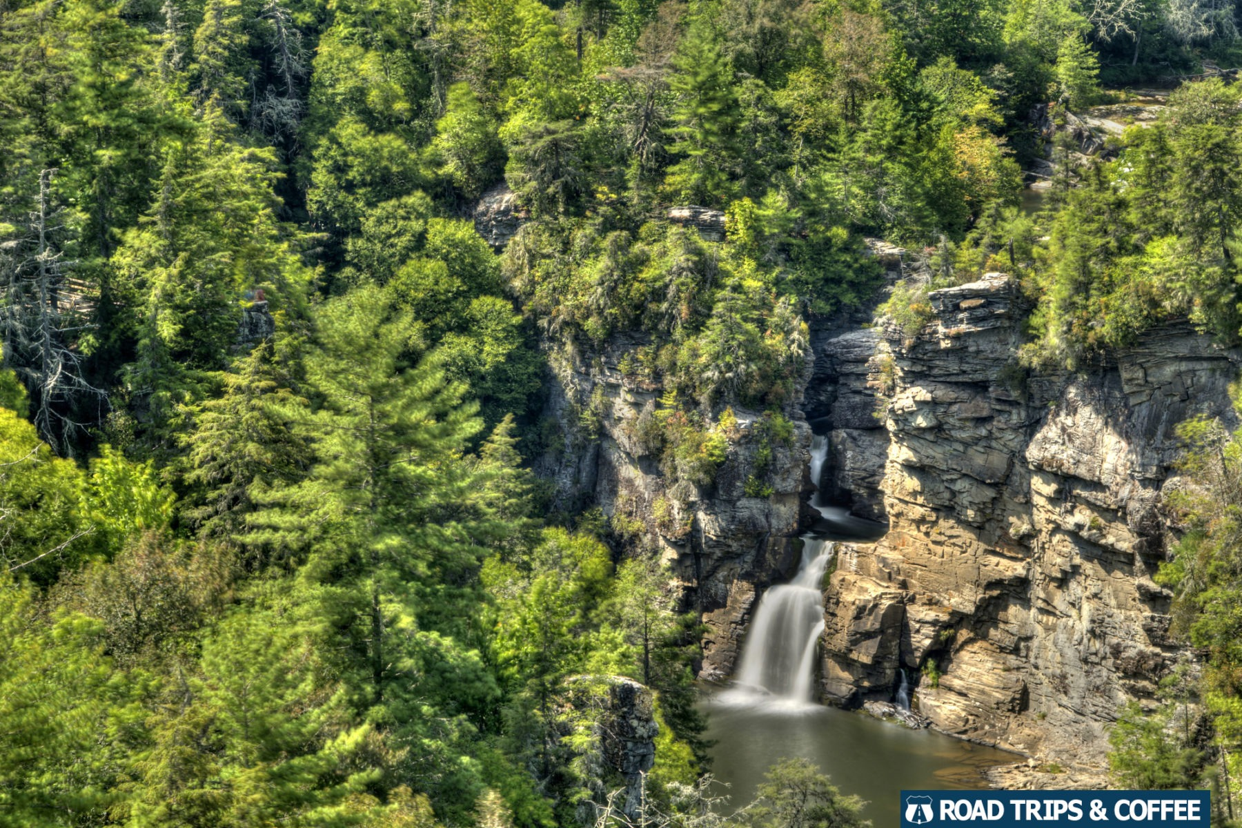 View of Linville Falls on the Blue Ridge Parkway in North Carolina