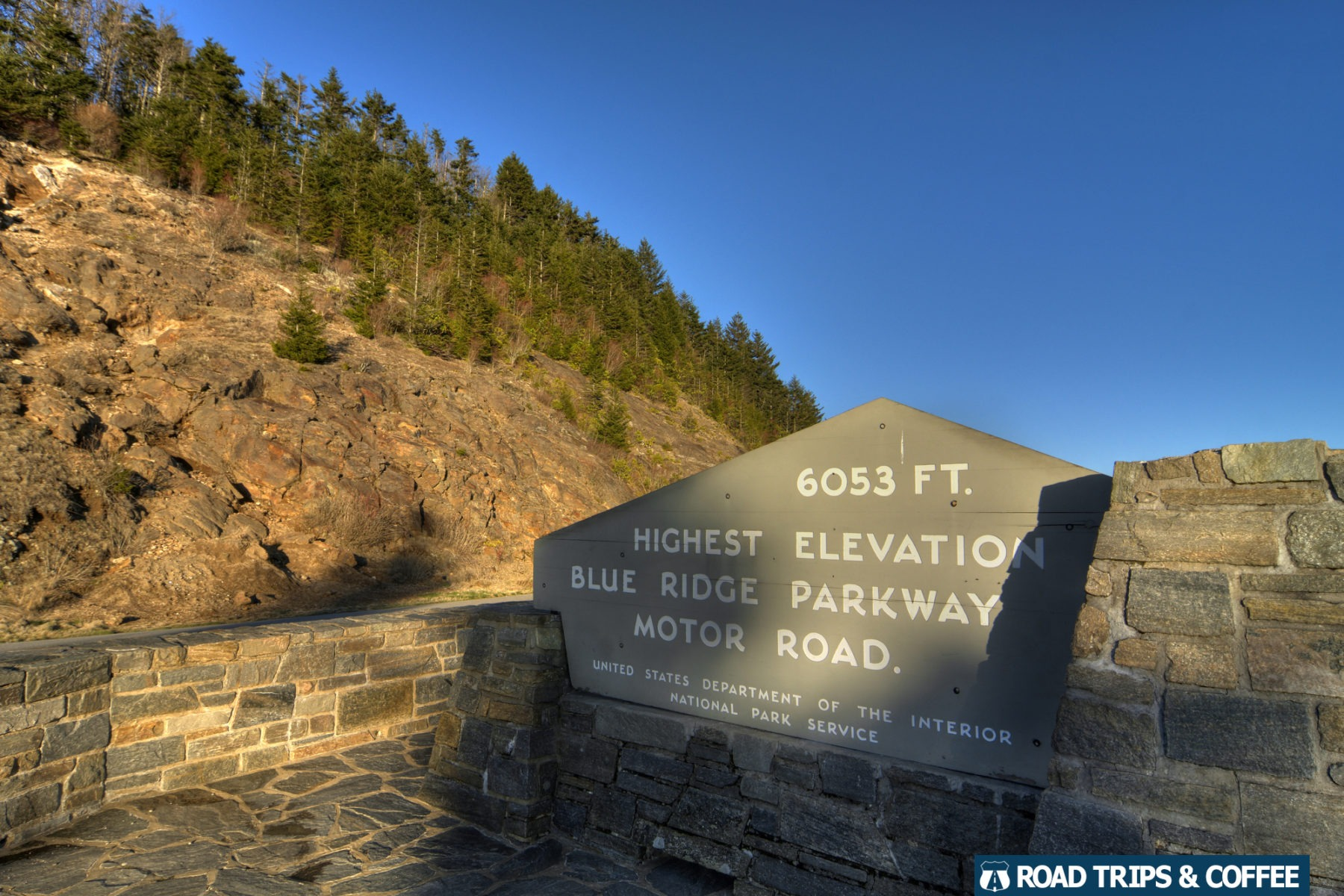 The sign marking the highest elevation at Richland Balsam on the Blue Ridge Parkway in North Carolina