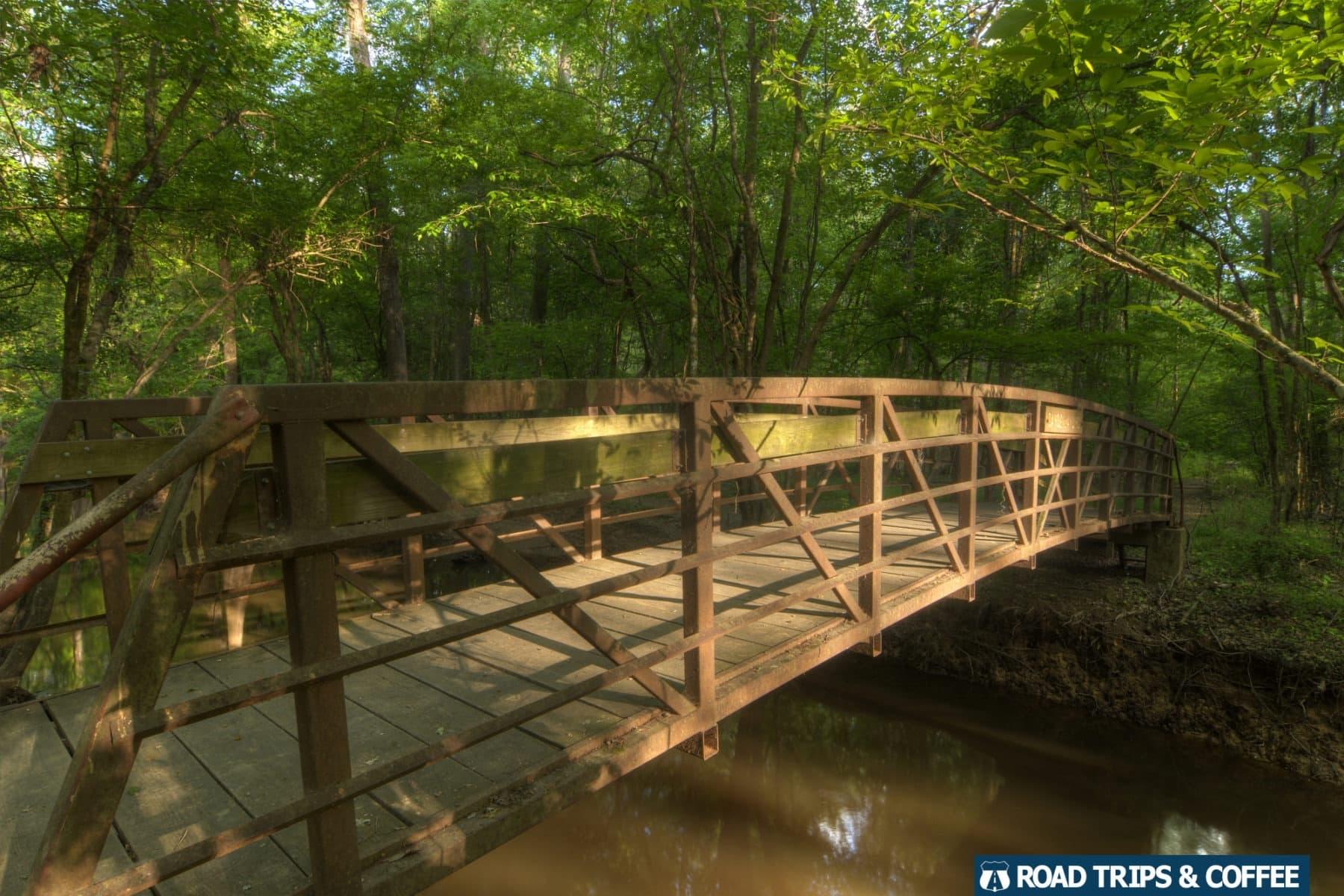 A wooden footbridge crossing Cedar Creek along the Kingsnake Trail in Congaree National Park in South Carolina