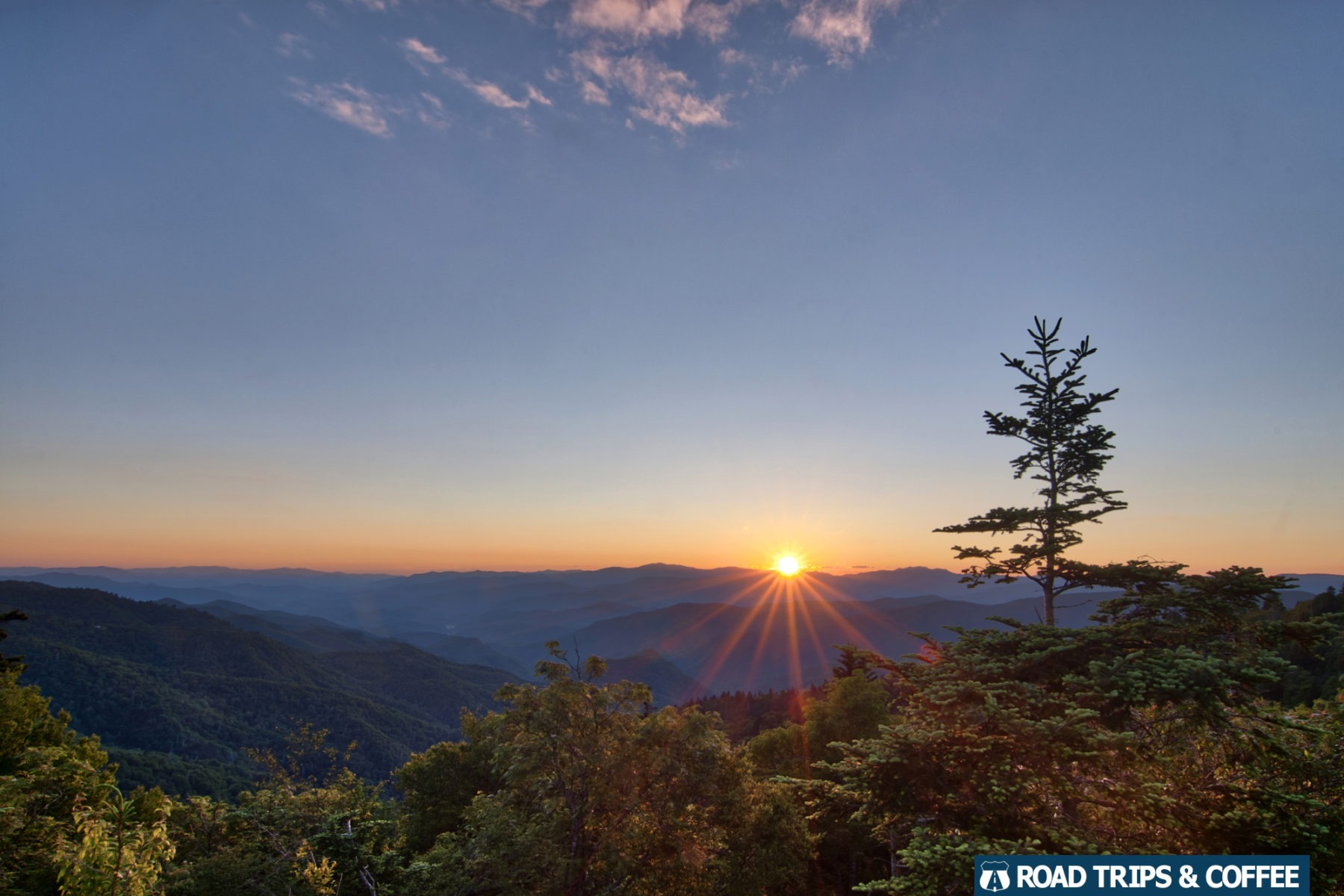 A cool sunset view from Waterrock Knob on the Blue Ridge Parkway in North Carolina