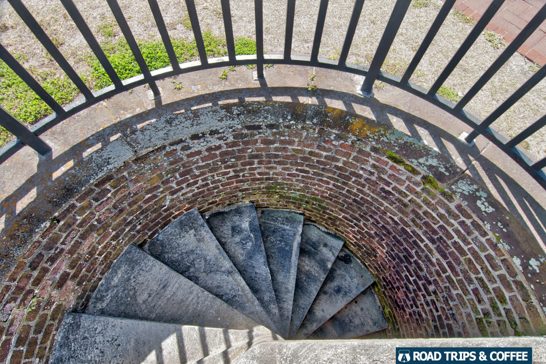 A stone spiral staircase from the top level of Fort Pulaski National Monument in Savannah, Georgia