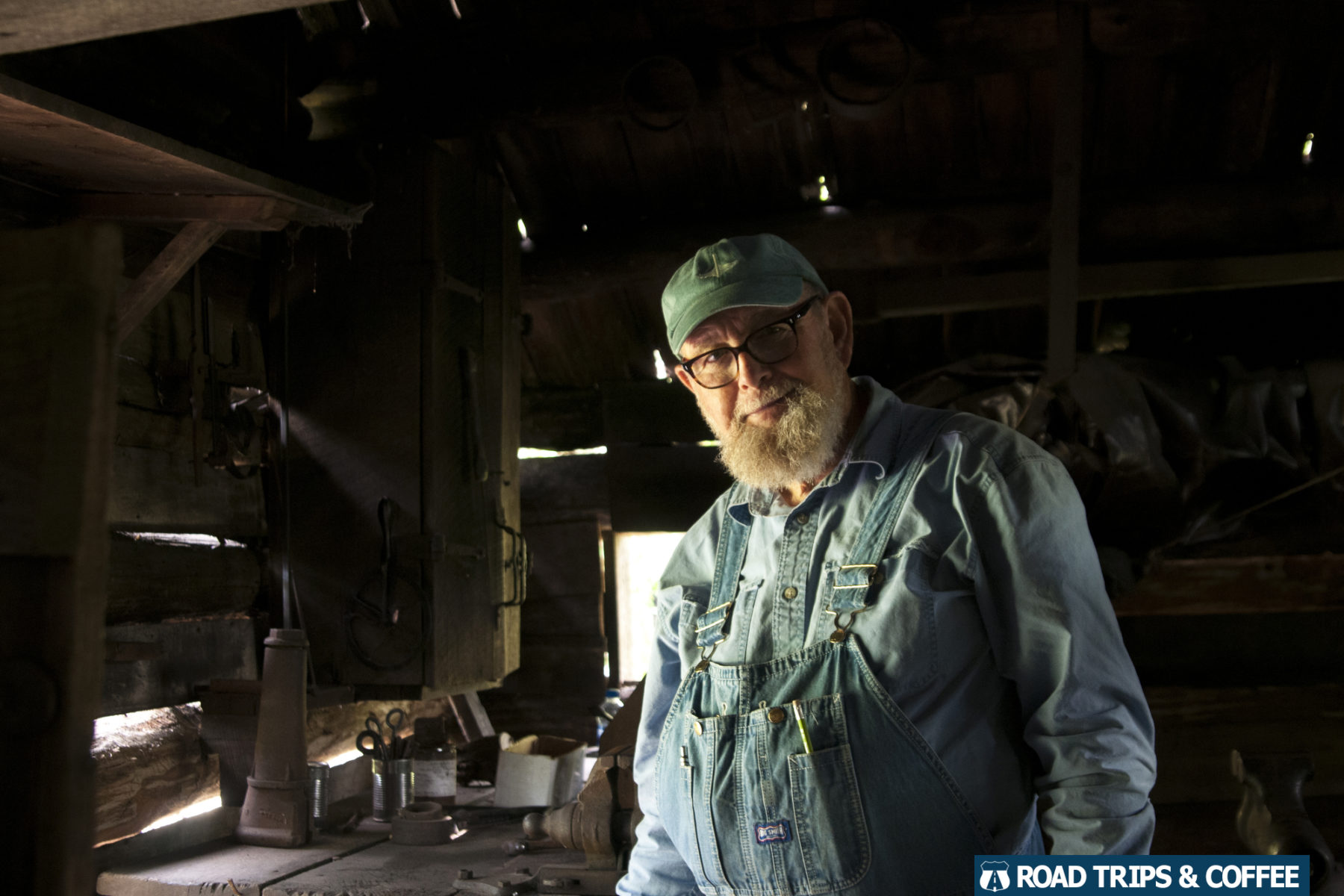 A reenactor in the blacksmith shop at Mabry Mill on the Blue Ridge Parkway in Virginia