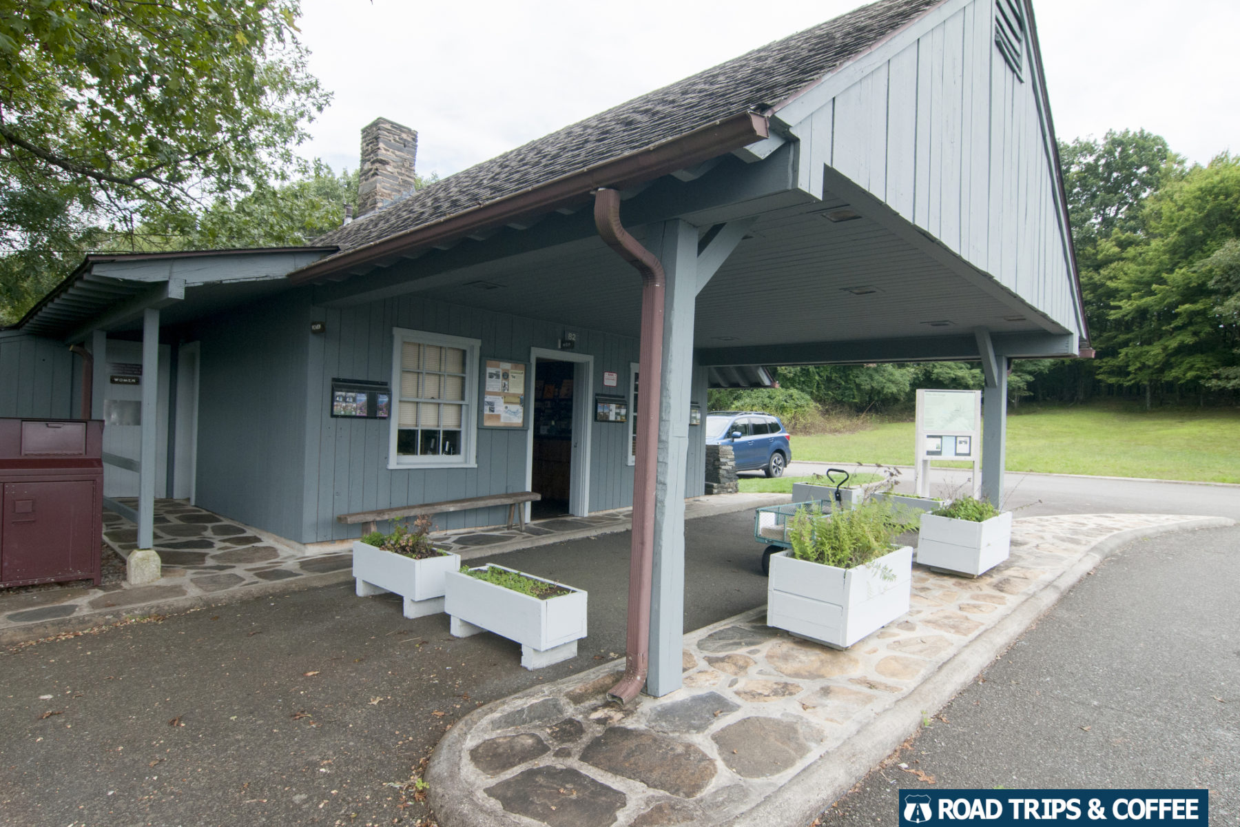 The former gas station turned into the Rocky Knob Visitor Center on the Blue Ridge Parkway in Virginia
