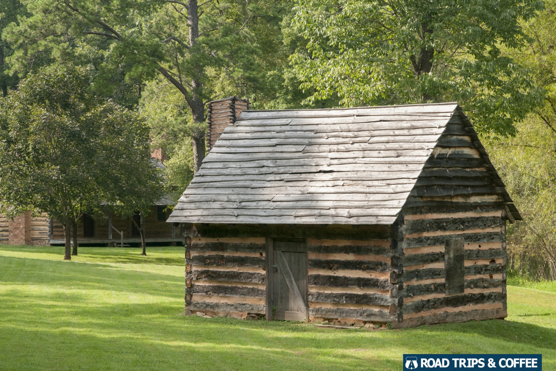 A small outbuilding in the settlement village at Virginia's Explore Park on the Blue Ridge Parkway in Roanoke, Virginia