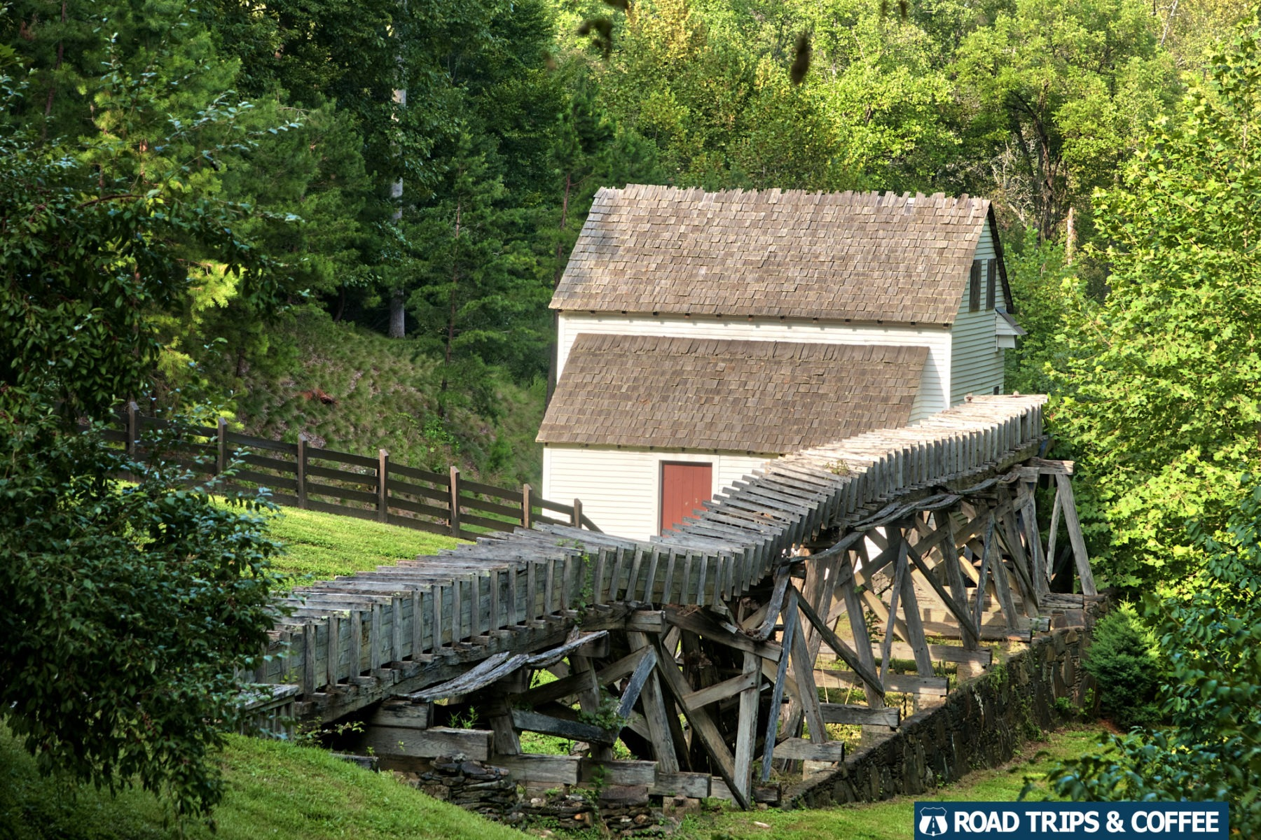 An historic grist mill in the settlement village at Virginia's Explore Park on the Blue Ridge Parkway in Roanoke, Virginia