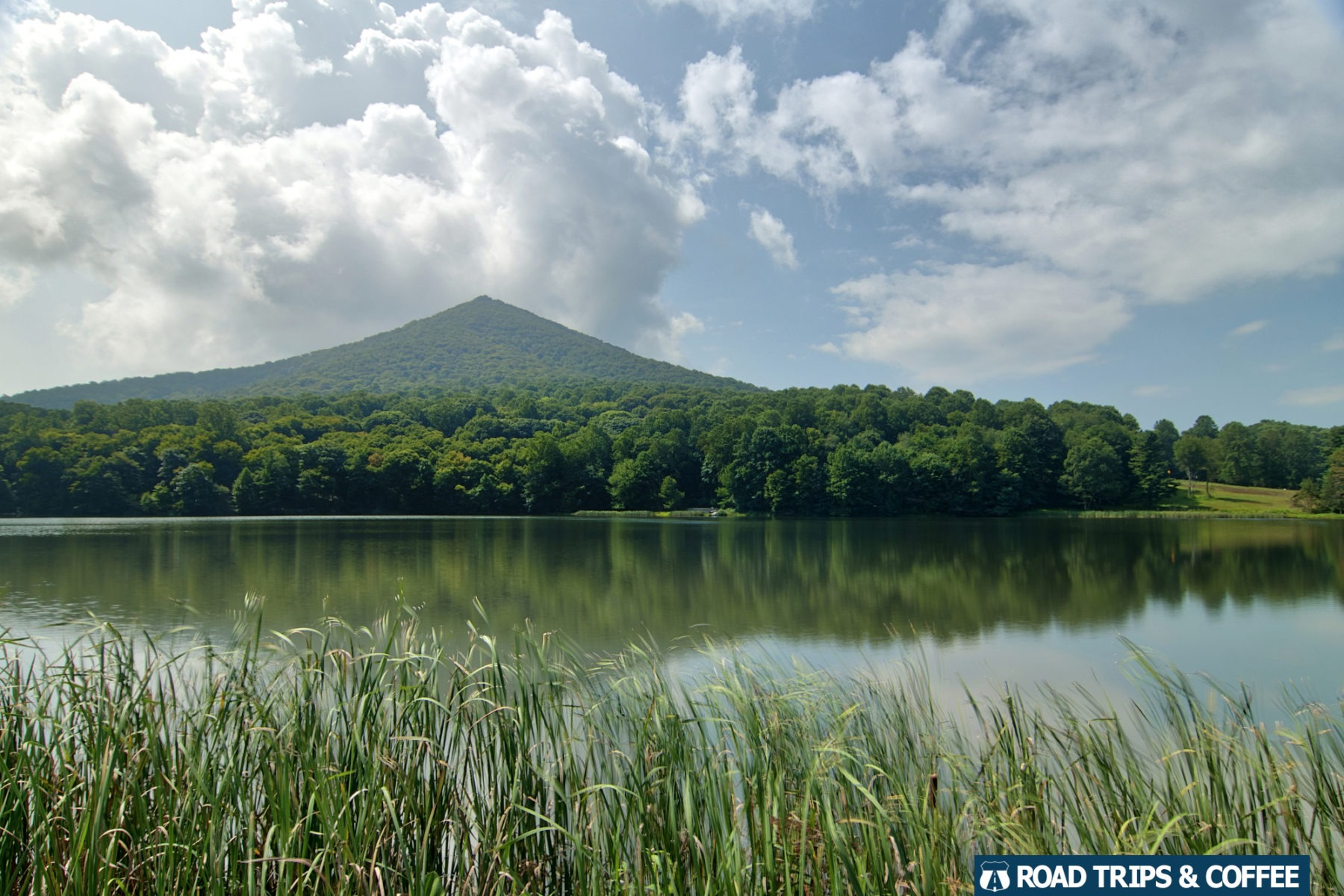 Sharp Top Mountain across Abbott Lake at the Peaks of Otter on the Blue Ridge Parkway in Virginia