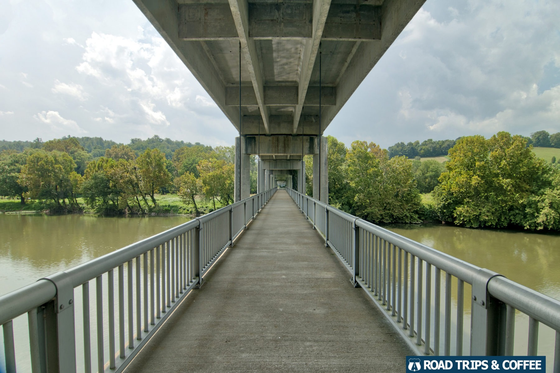 A long pedestrian bridge crossing the James River on the Blue Ridge Parkway in Virginia