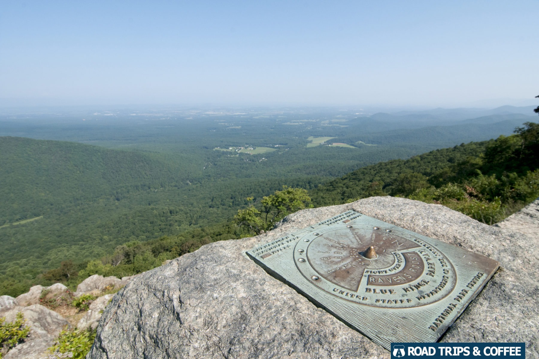 A plaque showing the landmarks in the distance at Ravens Roost Overlook on the Blue Ridge Parkway in Virginia