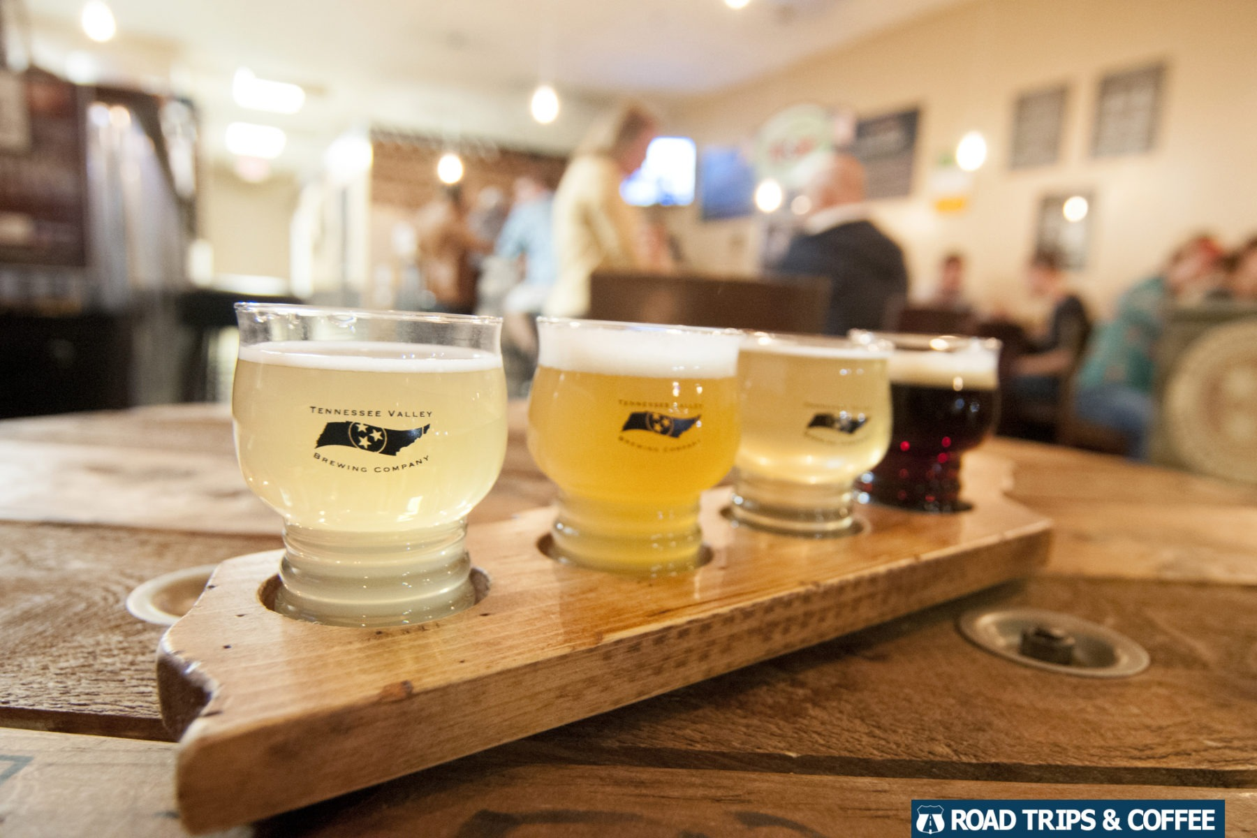 A flight of four craft beers from the Tennessee Valley Brewing Company in Clarksville, Tennessee