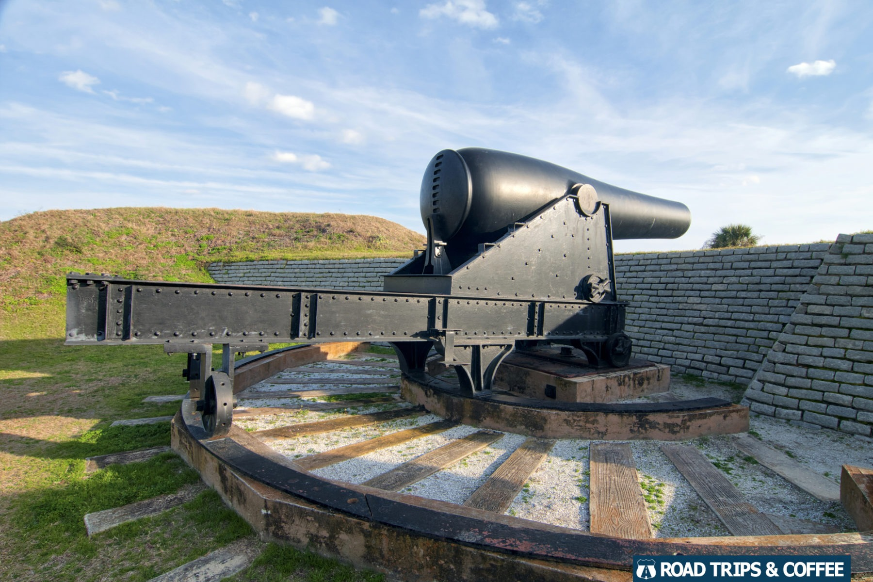 A giant Rodman Gun on display at Fort Moultrie at Fort Sumter & Fort Moultrie National Historical Park in Sullivan's Island, South Carolina