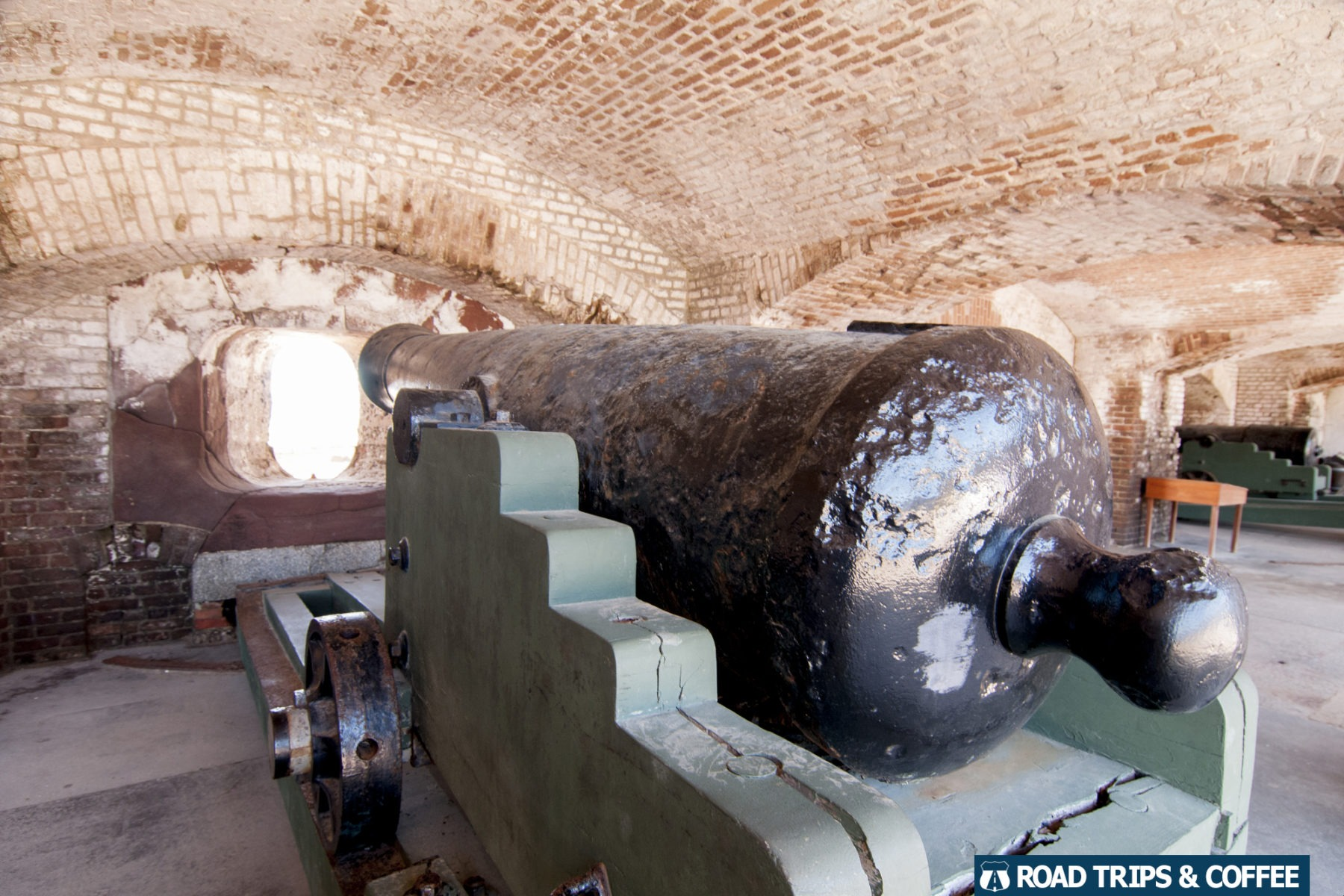A canon inside casemate at Fort Sumter & Fort Moultrie National Historical Park in Charleston, South Carolina
