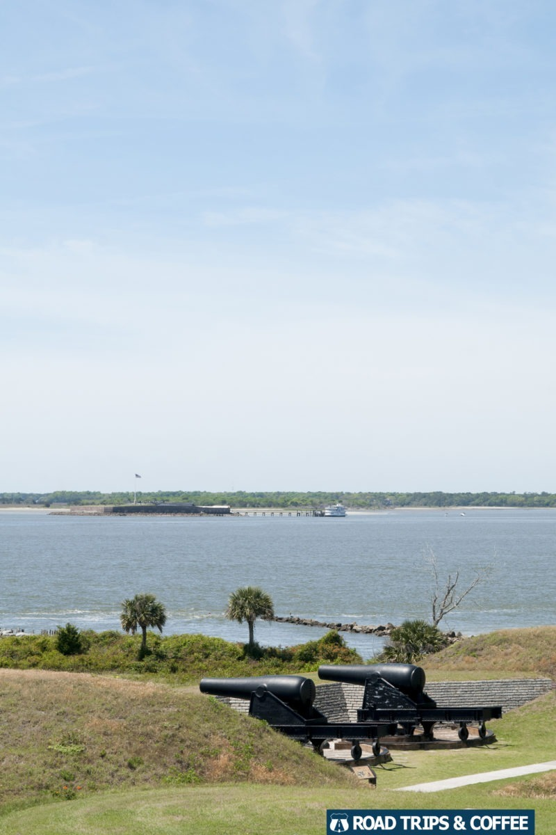 A view of nearby Fort Sumter from the WWII-era watch tower at Fort Moultrie at Fort Sumter & Fort Moultrie National Historical Park in Sullivan's Island, South Carolina