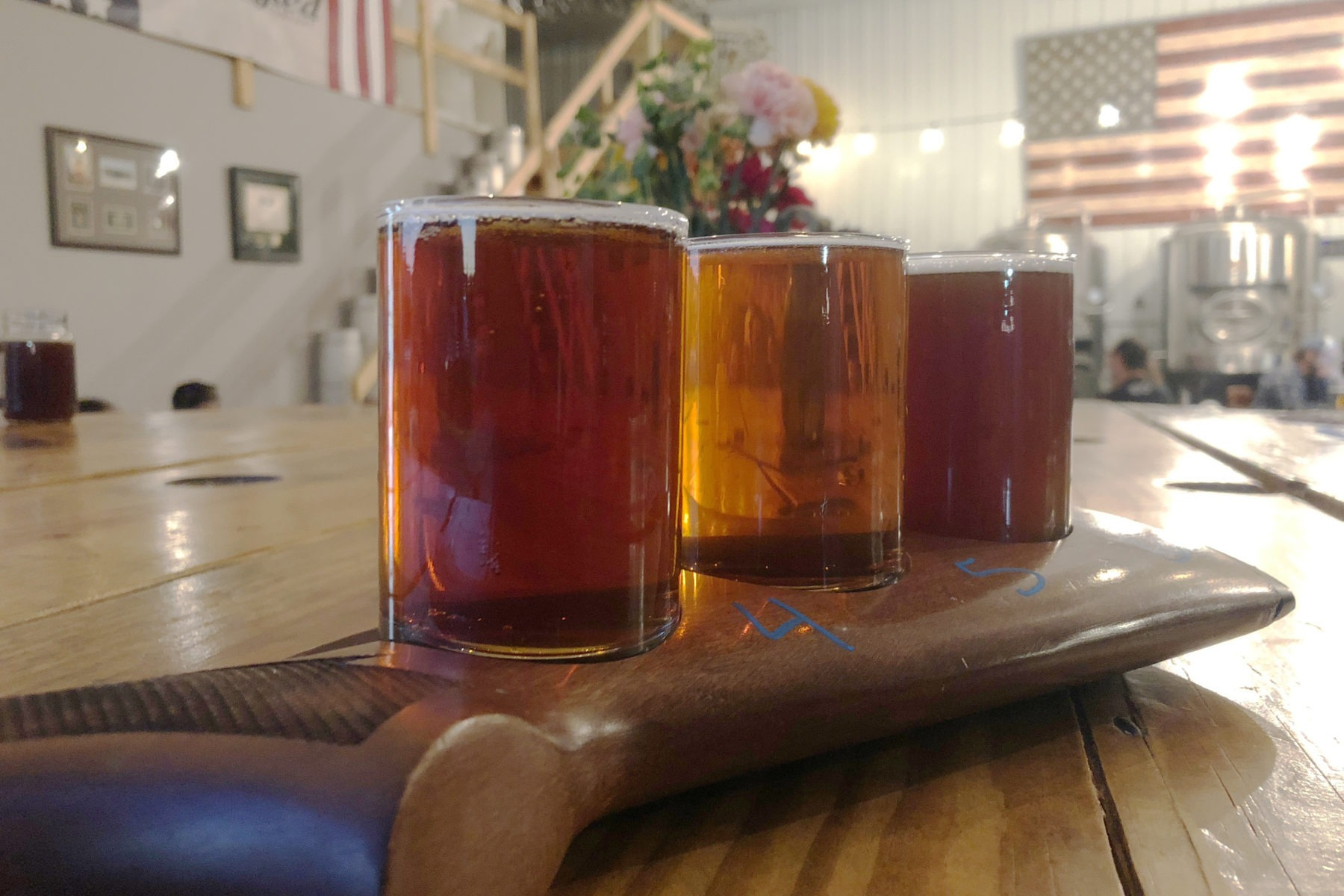 A flight of three beers from the Star Spangled Brewery in Clarksville, Tennessee