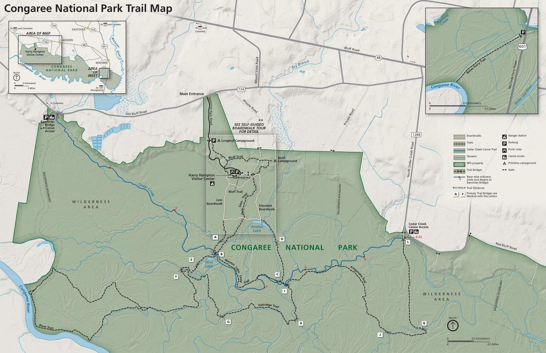 Congaree National Park hiking trails map.