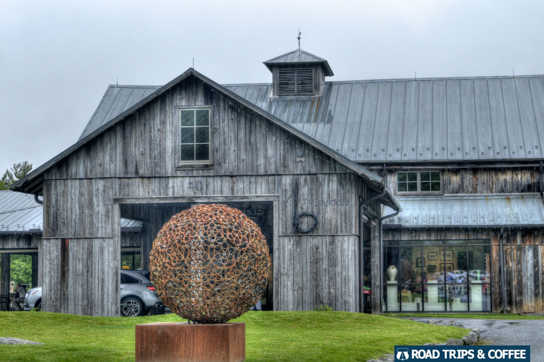 The rustic barn style of The Bascom art center in Highlands, North Carolina