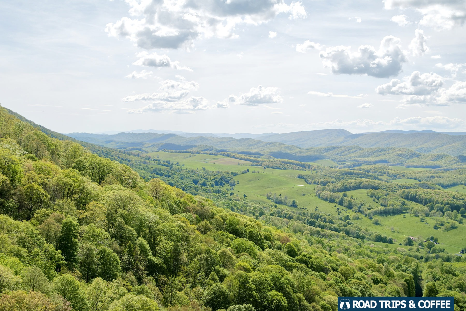 View of the nearby valley and mountains from the top of the Big Walker Lookout in Wytheville, Virginia