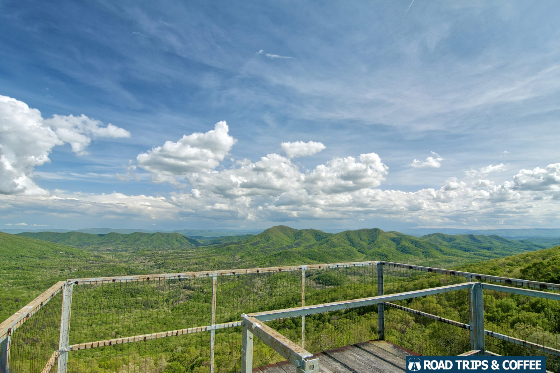 The view across the wooden deck at the top of the Big Walker Lookout in Wytheville, Virginia