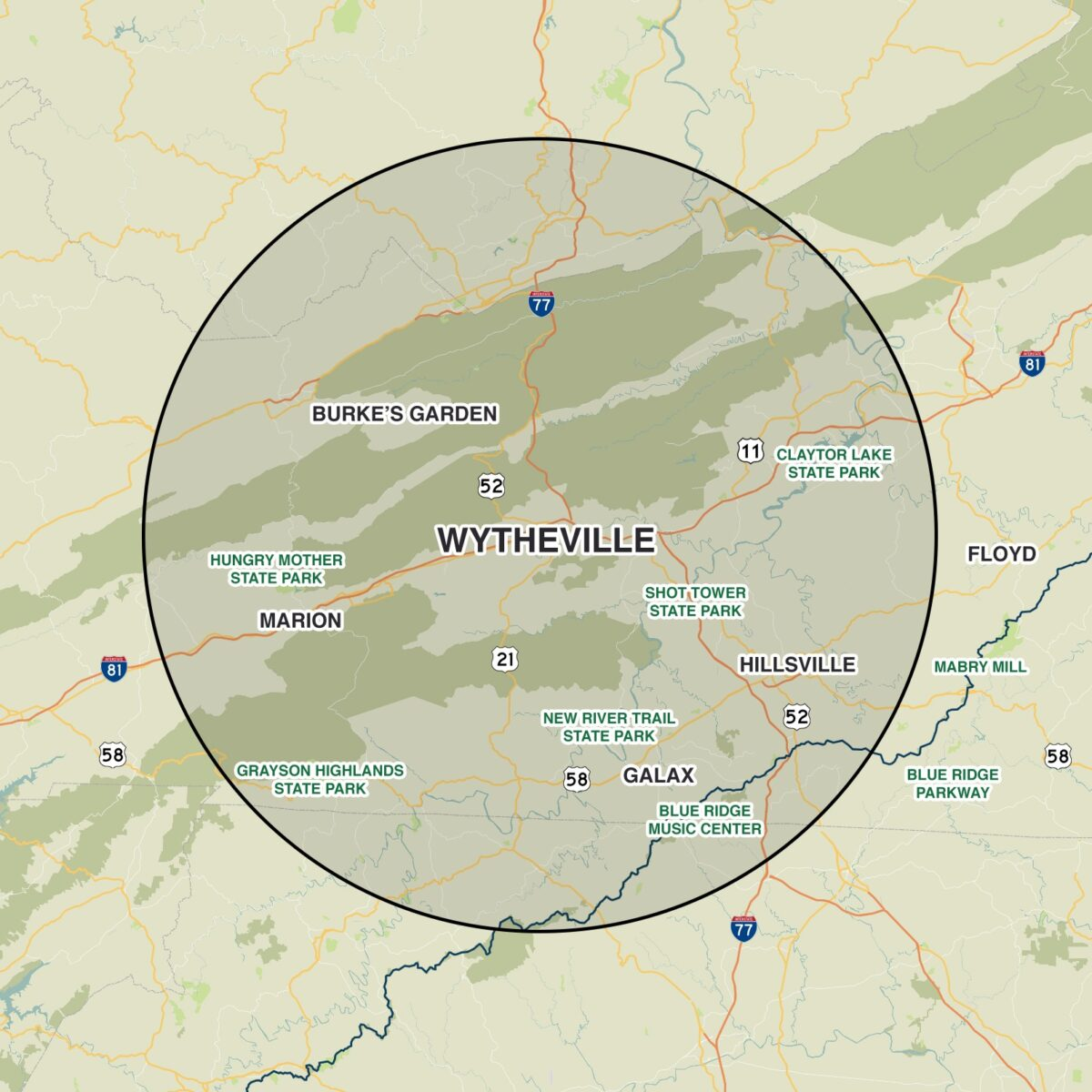 Outdoor recreation and tourism map for Wytheville, Virginia