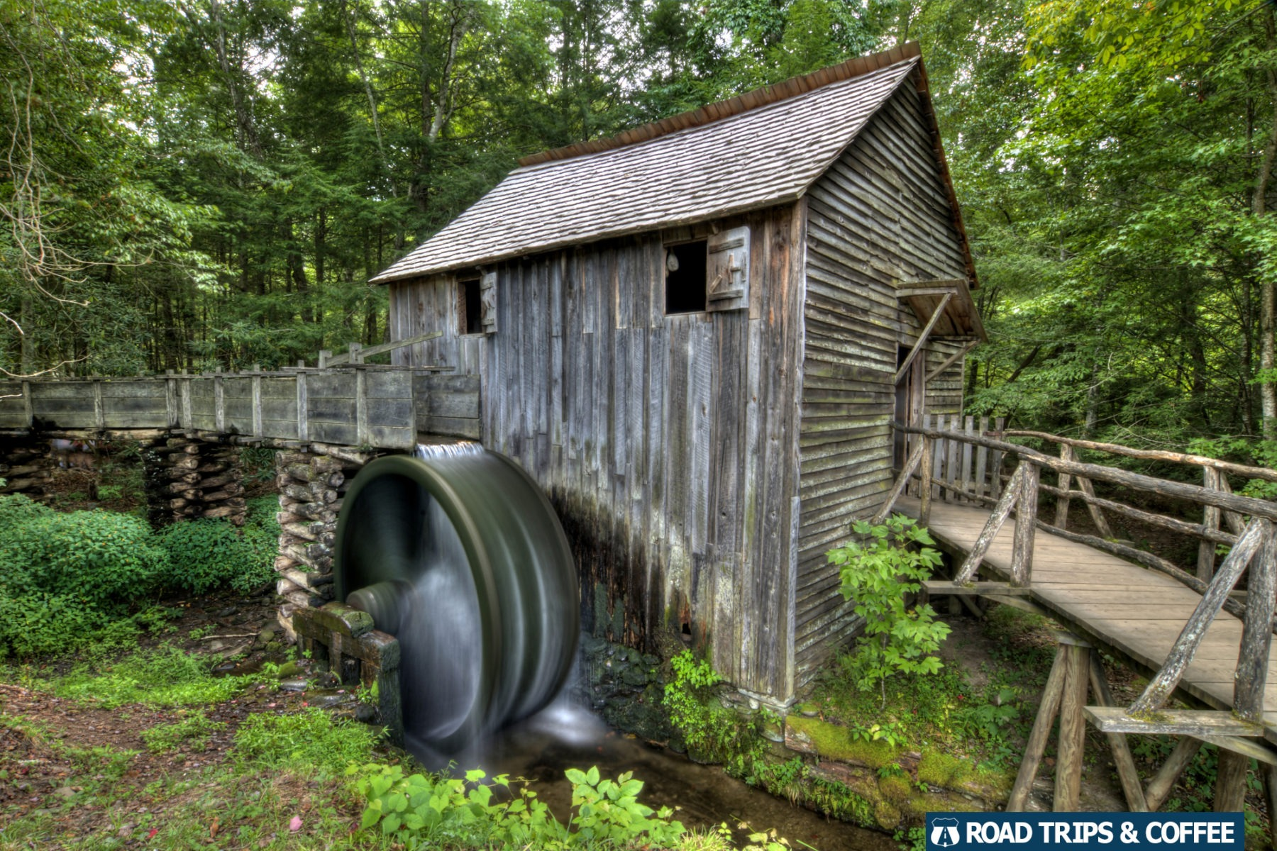 A wheel spins from water power at the John Cable Grist Mill in Cades Cove in the Great Smoky Mountains National Park