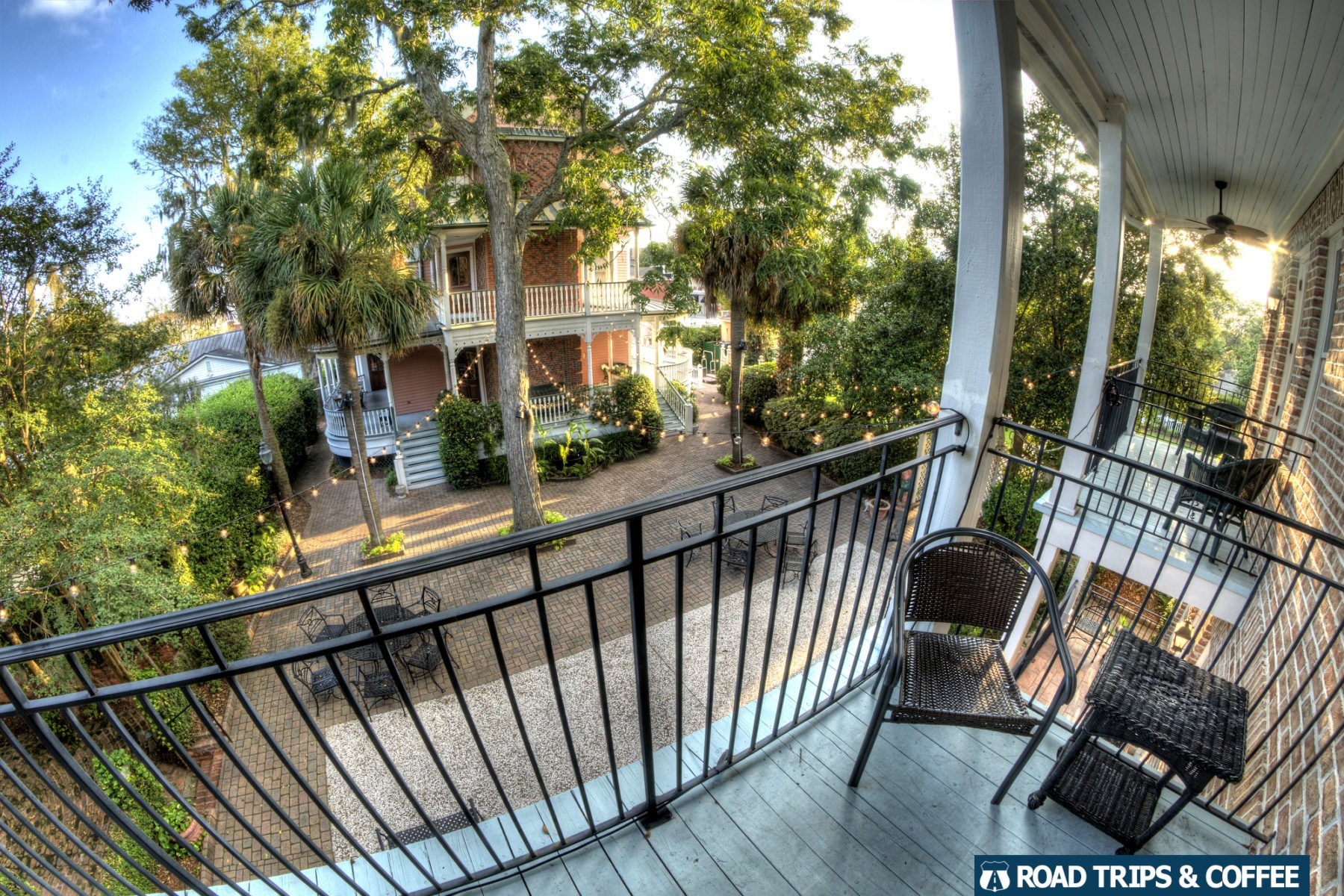 View from the second story balcony overlooking an inner courthyard at the Beaufort Inn in Beaufort, South Carolina