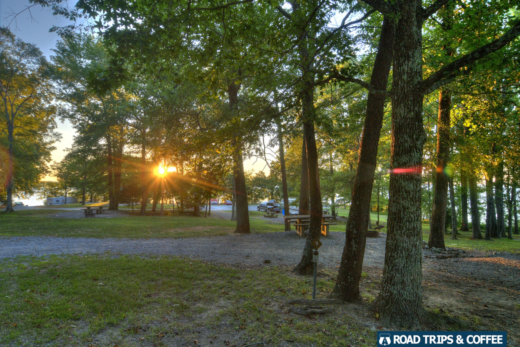 Sunset over the loosely defined campstites at Boswell Landing Basic Campground at Land Between the Lakes National Recreation Area
