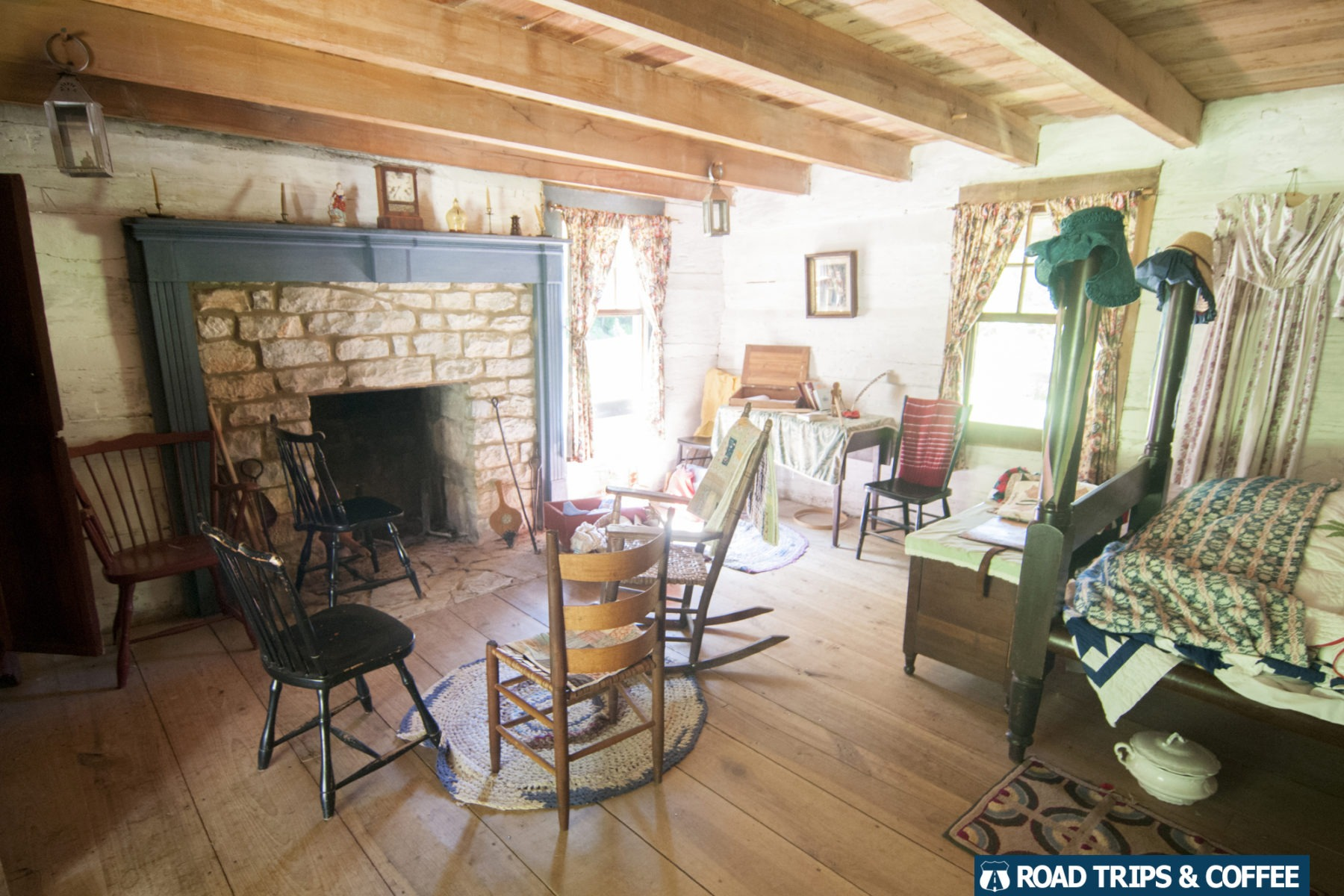 Interior of a rustic cabin at Homeplace 1850s Working Farm in Land Between the Lakes National Recreation Area