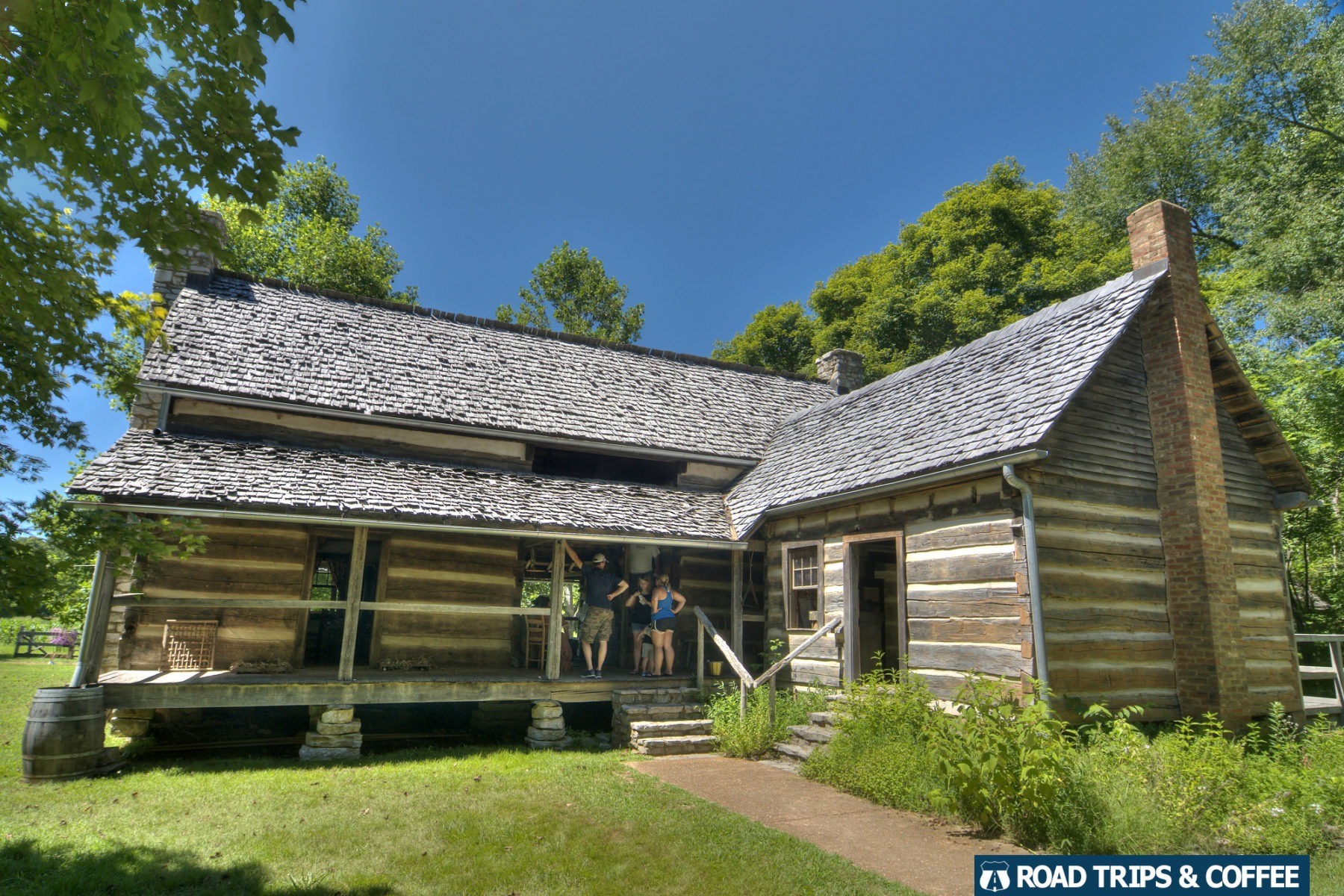A rustic dogtrot cabin at Homeplace 1850s Working Farm in Land Between the Lakes National Recreation Area