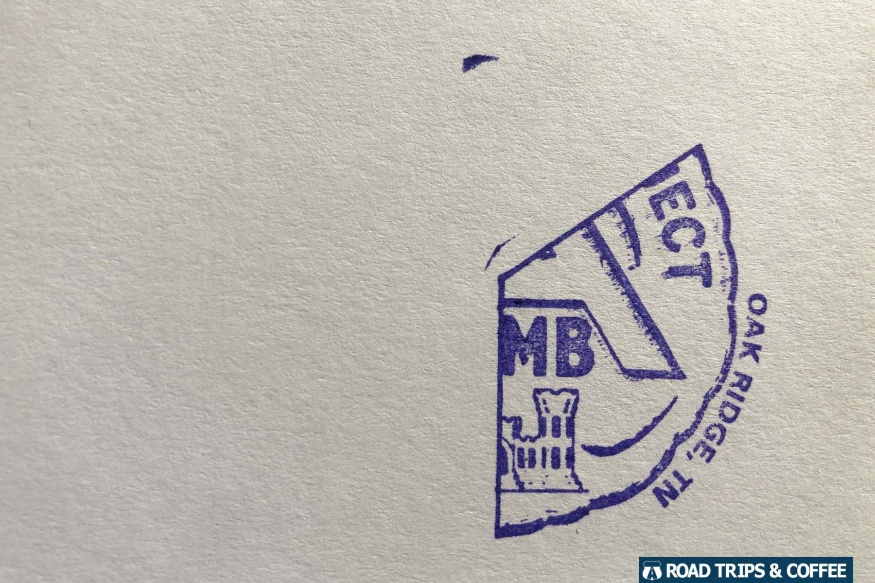 One third of the complete National Park Passport cancellation stamp, this one from the Oak Ridge site of the Manhattan Project National Historical Park in Tennessee