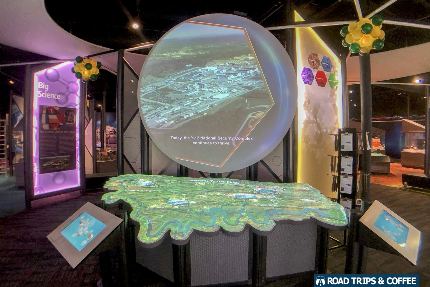 Large digital displays inside the American Museum of Science and Energy in Oak Ridge, Tennessee