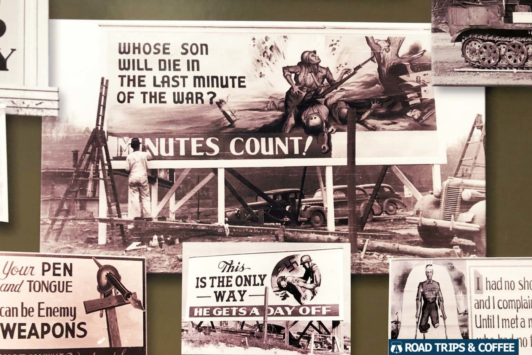 Photos of previous billboards hanging around the Secret City on display at the Oak Ridge Museum in Oak Ridge, Tennessee