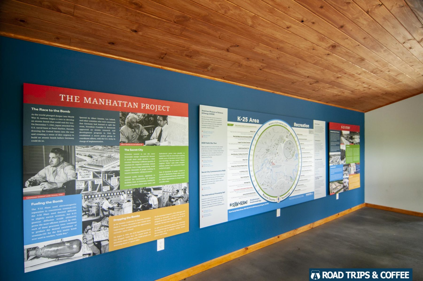 Information displays on the walls inside the K-25 Overlook Visitor Center in Oak Ridge, Tennessee