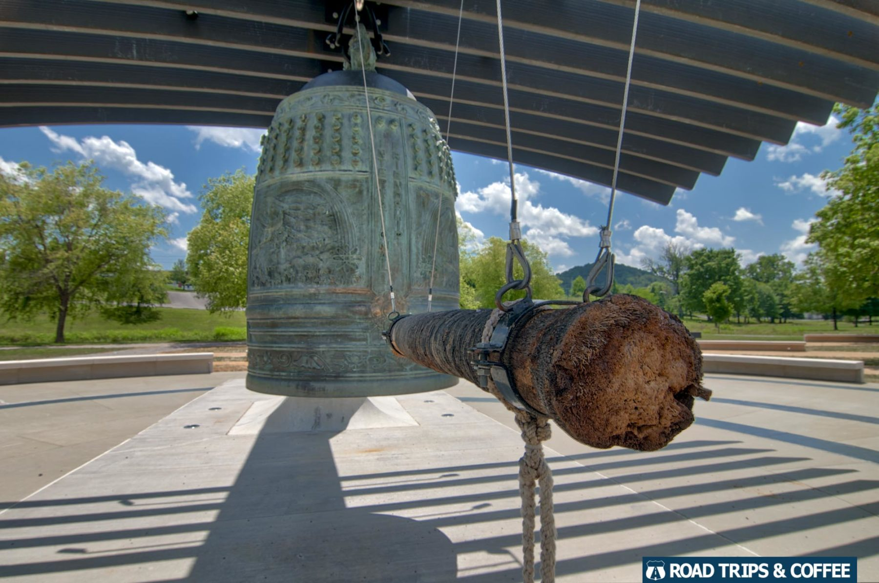 The bronze International Friendship Bell hanging from a beautiful wooden support in Oak Ridge, Tennessee